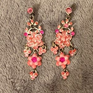 """2.5"""" Silver With Pink Stones Dangle Earrings"""